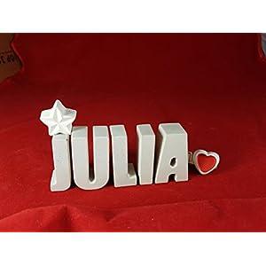Beton, Steinguss Buchstaben 3 D Deko Namen JULIA als Geschenk verpackt!