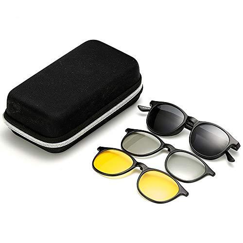 Yiph-Sunglass Sonnenbrillen Mode Retro polarisierte Sonnenbrille mit 3pcs austauschbaren Linsen für Männer Frauen Nachtsicht und 3D-Linse unzerbrechlich