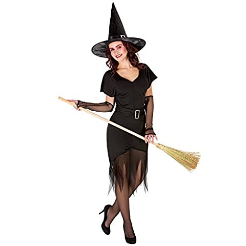 Frauenkostüm Sexy Zauberin Hexe inkl. Armstulpen und spitzem Zauberhut (XL | Nr. 300124)