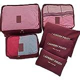 عدد 6 قطع من حقائب تنظيم الأغراض الشخصية لحقيبة السفر لون بني غامق