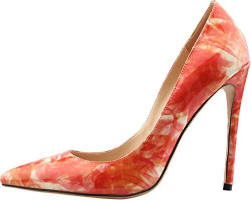 Calaier Femme Caelse Pointures Européennes 34-46 Aiguille 12CM Glisser Sur Escarpins Chaussures Peinture Rouge