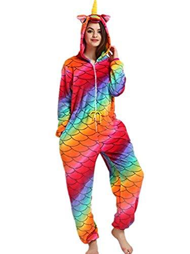 Yigoo Pyjama Jumpsuit Oneise Overall Damen Einhorn Tier Herren Lang Karneval Kostüm Cosplay Fleece mit 3D Kapuze S