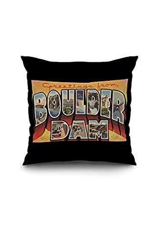 Greetings from Boulder Dam, Nevada (18x18 Spun Polyester Pillow Case, Black Border)