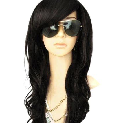 MelodySusie Perücke lange lockige Haarperücke wig für Karneval oder Mottoparties - Fashion Glamourös Haarteil (718 Schwarz)