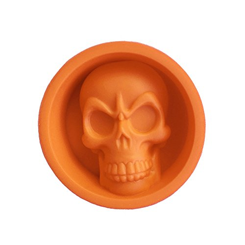 VelvxKl DIY Halloween Party 3D Totenkopf Form Silikon Kuchen Pudding Schokolade Eis Süßigkeiten Form Werkzeug Orange