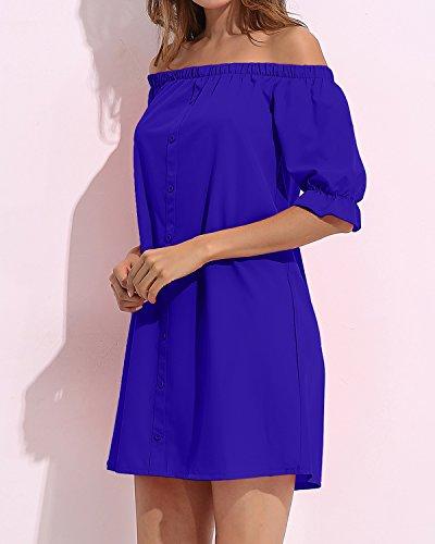 StyleDome Femme Robe Courte Chemise Bustier Col Bateau Manches Demi Epaule Nue Casual sexy Haut Tops Blouse Chemise Longue Bleu