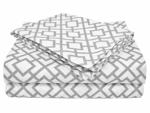 American Baby Company 100% Cotton Percale Toddler Bedding Sheet Set, Gray Lattice, 3 Piece by American Baby Company (Bettwäsche American Kinderbett Baby)