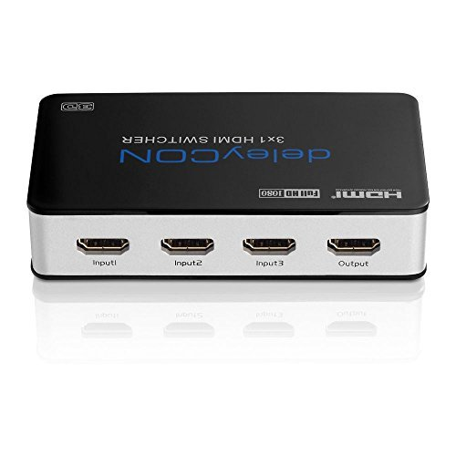 deleyCON ULTRA Serie HDMI Switch Verteiler 3 Port Automatisch - 3D Ready / FULL HD 1080p - Metallgehäuse - [3x IN / 1x OUT]
