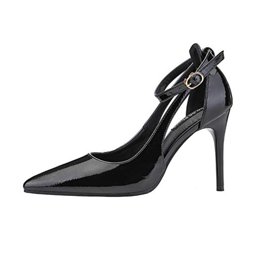 YAN Women es High Heel PU Pointed Toe Stiletto Dress Pumps Fashion Super High Heel Slip On Closed Toe Wedding Party Shoes,Black,36 Black Pointed Toe