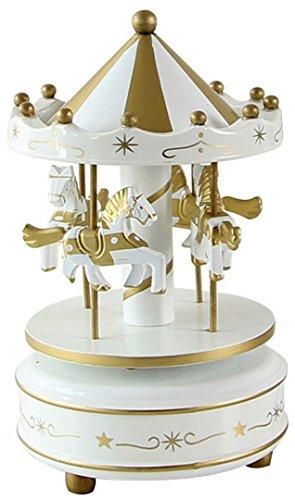 HorBous Merry-GO-Round Carrusel Decoración de madera del regalo de la caja de la música del mecanismo de relojería con la música del castillo en el cielo 6 colores (Cielo azul)