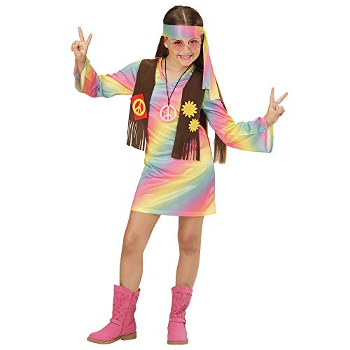 WIDMANN 73357?Disfraz de hippie Chica vestido angenähte Chaleco Y Cinta, Arco Iris, tamaño 140