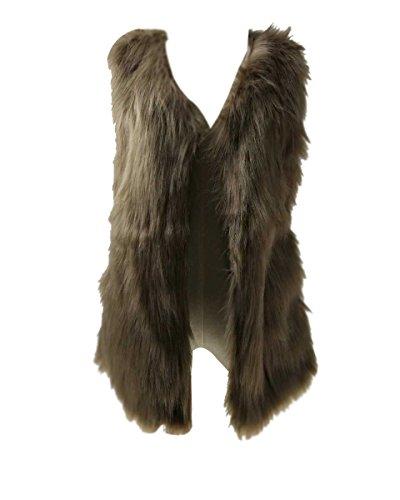 Donna gilet di pelliccia sintetica invernale elegante lungo cappotto giacca parka senza maniche di pelliccia ecologica faux s khaki
