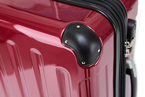 BEIBYE Hartschalen Koffer Trolley Rollkoffer Reisekoffer 4 Zwillingsrollen (Handgepäck-40L, Rot) - 2