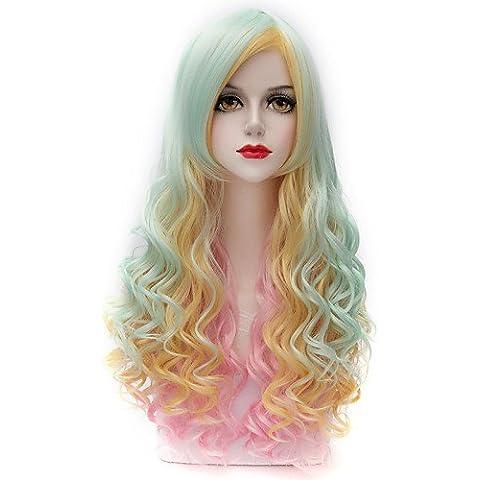 bella luce highlight mix verde rosa capelli ricci lunghi parte u harajuku lolita purecas donne parrucca sintetica