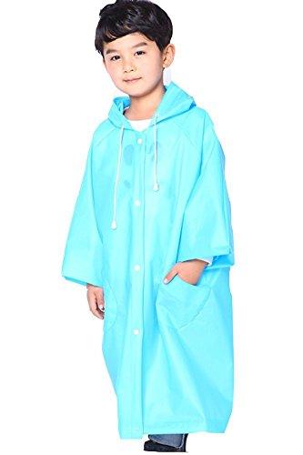QZUnique Kinder-Regenmantel mit Rucksack, wasserdicht, verstaubar, mit Kapuze - Blau - US Small