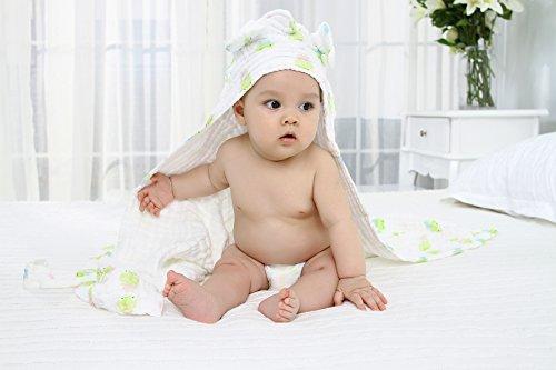 Lucear Asciugamano con Cappuccio Bagno Neonato Accappatoio Cotone Mussolina Bambino Verde