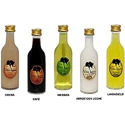 Lote de 30 Botellas de Licores (Surtidos) Sol Villalucía. Detalles de Bodas y Eventos. 12 cm. - 5 cl