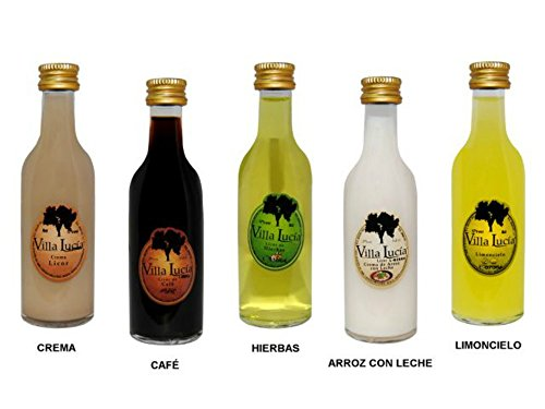 Estupendas botellas de licores surtidos sol Villalucía ideales para bodas y eventos. Material: Cristal. Se sirven en sabores surtidos. Sabores Licores: Crema, café, hierbas, arroz con leche y limoncielo.