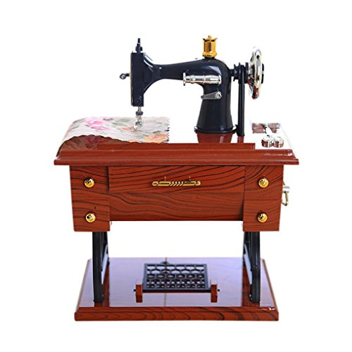 hunpta Vintage de estilo caja de música mini máquina de coser mecánica regalo de cumpleaños Decoración de la mesa