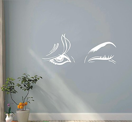 WWYJN Pretty Female Eyes Wall Sticker Vinyl Decal for Bedroom Art Decoration Removable Wall Mural  45x77cm