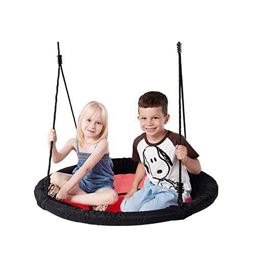 2 Personen Adjustable Länge Swing Kinder Kinder 100 cm 40 Zoll Diamater Round Nest Tree Garden Swing Large Seat Hängematten Outdoor Yard Play Equipment Toys,Red (Swing 2 Outdoor Personen)