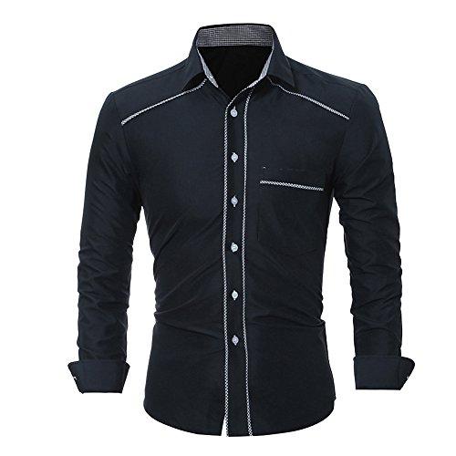 Rmine Herren Langarm Hemd Bügelleicht für Freizeit Business M-4XL (Schwarz 2, XXL)