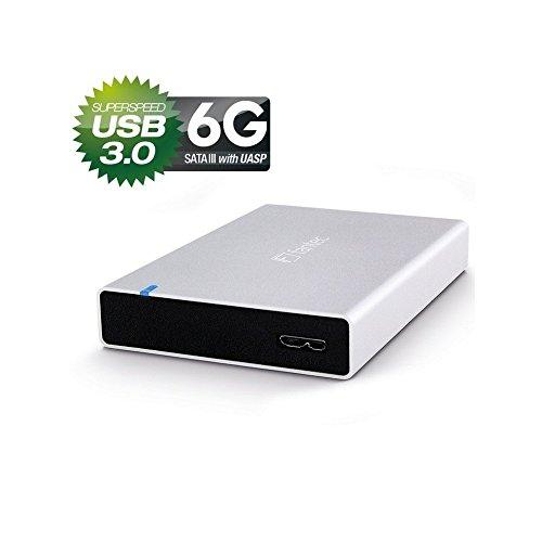 FANTEC ALU15MMU3 Externes Festplattengehäuse (für den Einbau einer 6,35 cm (2,5 Zoll) SATA I/II/III Festplatte oder SSD, unterstützt SATA III 6G Festplatten und USAP, USB 3.0 SUPERSPEED Anschluss, Aluminium Gehäuse) silber