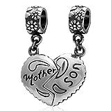Argent sterling 925Mère et fille Charm Charm en forme de cœur Love Famille charmes pour bracelets Pandora Bracelet à breloques (Mother and Son