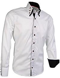050cf7d8f86616 Giorgio Capone Herrenhemd, 100% Baumwolle, Weiß, Button-Down Doppelkragen,  Langarm