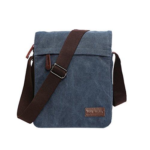 Leinwand Messenger Bag Umhängetasche Laptop Tasche Computer Tasche Umhängetasche aus Segeltuch Tasche Arbeiten Tasche Umhängetasche für Männer und Frauen, Herren, Blue Small - Jungen Tasche Mit Klappe