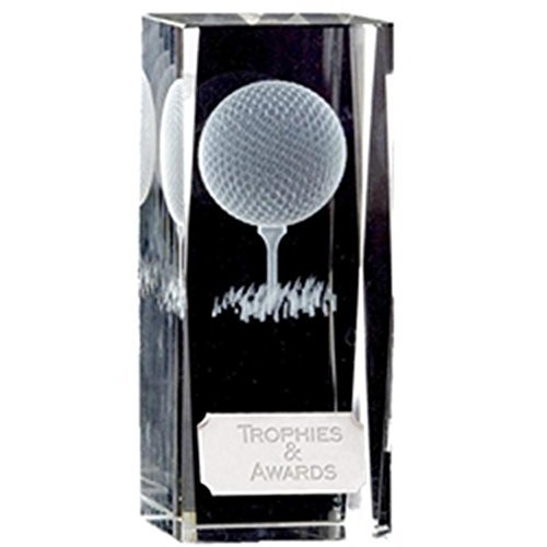 4.5 Clarity Crystal Block Golf Trophy with Free Engraving up to 30 Letters KK118 by Trophy
