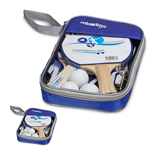 Relaxdays 2 x Tischtennis-Set, 2 Taschen, 4 Holzkellen, 6 Tischtennisbälle, 2 Ping Pong Netze 150 cm, Tischtennis-Zubehör, blau