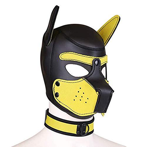 Toosexylingerie Máscara completa para perro, capucha de piel, casco extraíble boca cosplay,...