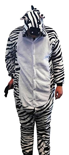Flannel Kostüm Zebra Damen Herren Kinder Karnevalskostüm Faschingskostüm Verkleidung Fleece Overall Erwachsene Größe XL (Kostüm Kleinkind Zebra Halloween)
