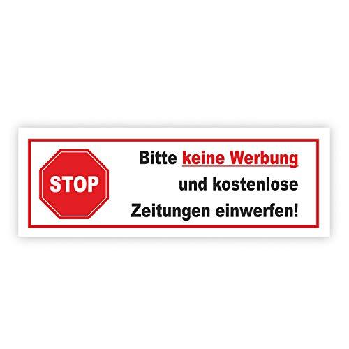 """Articolo Hin_ 083 - Autoadesivo - """"Bitte keine Werbung und kostenlose Zeitungen einwerfen!""""per cassetta delle lettere"""