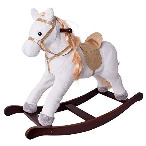 TE-Trend Schaukeltier Schaukelpferd Pferd Horse weiß Glitzer Sattel Zaumzeug Massivholzrahmen braun