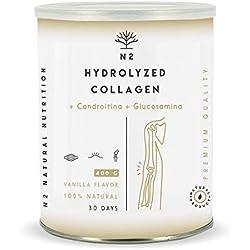 Colágeno Hidrolizado en Polvo Condroitina y Glucosamina Máxima Protección del Cartílago Fortalece Articulaciones Huesos y Piel Magnesio Ácido Hialurónico Vitamina C 400gr Vainilla N2 Natural Nutrition