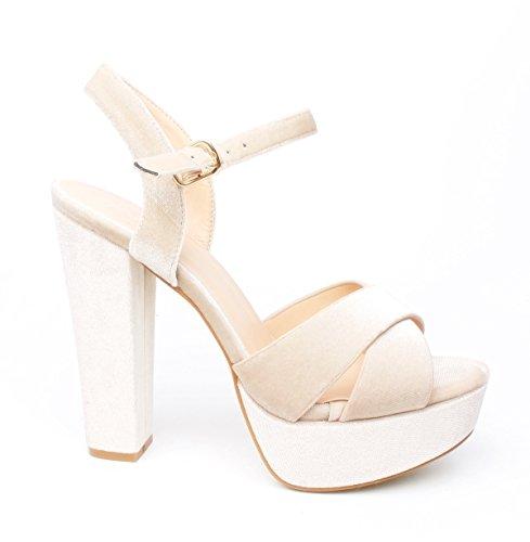 Klassische Trendige Damen Mary Jane Riemchen Pumps Stilettos Party High Heels Plateau Schuhe Bequem 18 (40, Beige 07) (Mary Heels Jane Schuhe High)