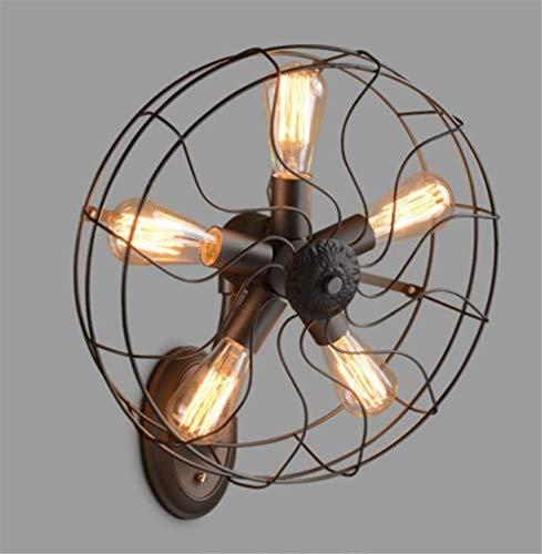 YLCJ Wandleuchte Vintage Wandleuchte Industrielle Metall Wandleuchte Lampe Fan 5 Lichter mit E27 Sockel für Wohnzimmer Dekoration Zimmer (220 V, Glühbirne Nicht enthalten) - 50 Velo-fan