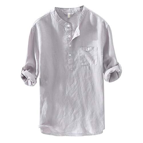 Lucky Mall Herren Mode Volltonfarbe Leinen Hemd mit Stehkragen, Sommer Atmungsaktives Oberteil mit Knopf Langärmliges Tops mit Tasche Bequemes Shirt Männer Bluse T-Shirt - Basic Shelf Bra Camisole