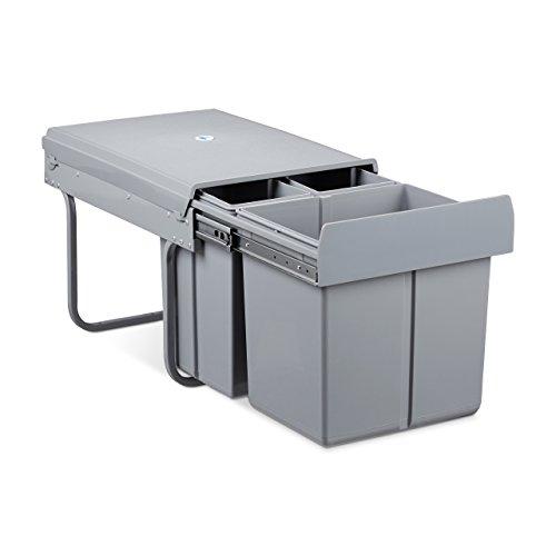 Relaxdays Mülltrennsystem 3 fach, HxBxT: 35,1 x 34,2 x 48 cm, 3 Behälter, Deckel, für Biomüll, Kunststoff, Metall, grau