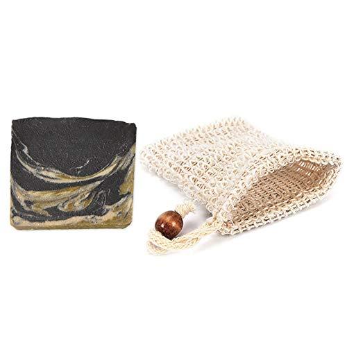Mijo BLACK GOAT schwarze Seife mit Ziegenmilch handgemachte Naturseife mit Bio Olivenöl ohne Palmöl + Säckchen ca. 100g -