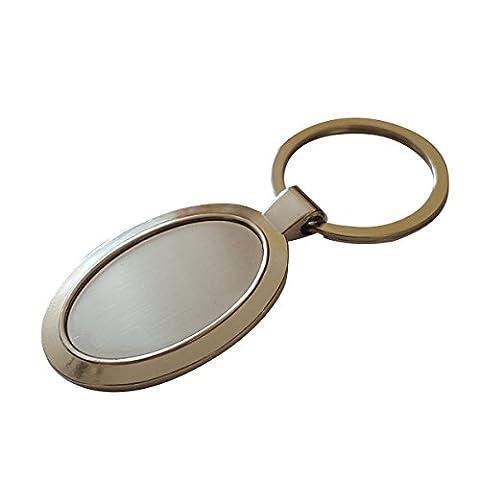 Porte-clés en argent métal (2 pièces), Metal silver blank keyring