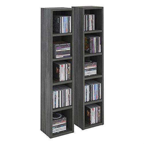 IDIMEX Etagères modulables Musique pour CD et DVD, Lot de 2 Meubles de Rangement en Colonne avec 10 Compartiments, en mélaminé décor Bois Gris cendré
