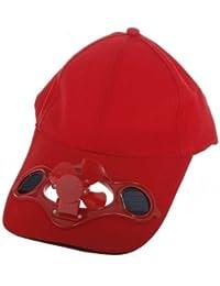 SODIAL(R) Ventilateur d'air Rouge energie solaire a refroidissement Chapeau de Baseball Camping Voyager