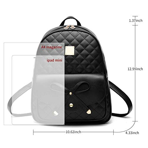 Alice Fashion Girls Bowknot 2-PCS Fashion Backpack Cute Mini Leather Backpack Purse for Women Image 3
