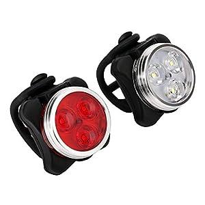 41AfpYOj7kL. SS300 Ainstsk Bike Light Set, Super Luminoso USB Ricaricabile Bicicletta luci Anteriori e Posteriori, 4modalità Luce opzioni, Batteria al Litio 650mAh, Faro della Bici,2Cavi USB 2Cinghia Inclusa