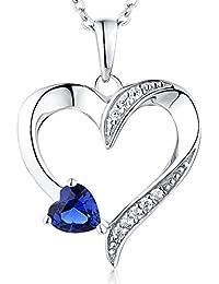 YL Halskette Damen Silber 925 Anhänger Herz mit 5MM * 5MM AAA Herz Blauer Saphir/Rubin/Rosa Zirkonia Kette für Frauen und Mädchen, 45-50 cm