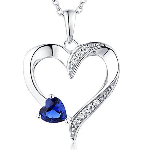 YL Halskette Damen Silber 925 Anhänger Herz mit 5MM   5MM AAA Herz Blauer  Saphir  15d13beb88