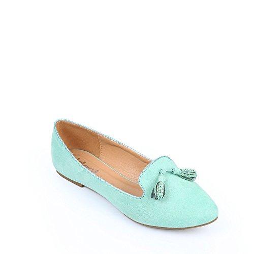 Ideal-Ballerina-Shoes babouches mit pompons strassés Solly Grün - grün